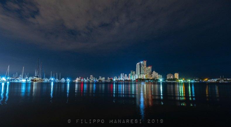 Bocagrande, Cartagena, Colombia, skyscrapers, boats, night, night photography, cityscape, seaside, ocean, marina,