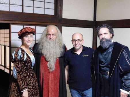 Foto di gruppo al tempio Higashi Hongannji Shouseienn Roututei Luogo della rappresentazione a Kyoto