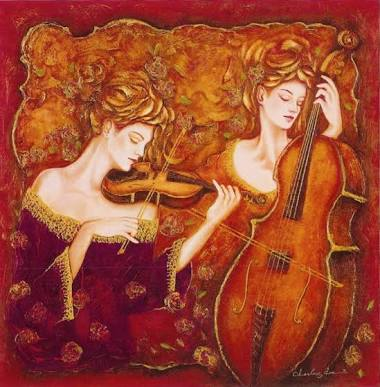 Painting of celloist and violinist