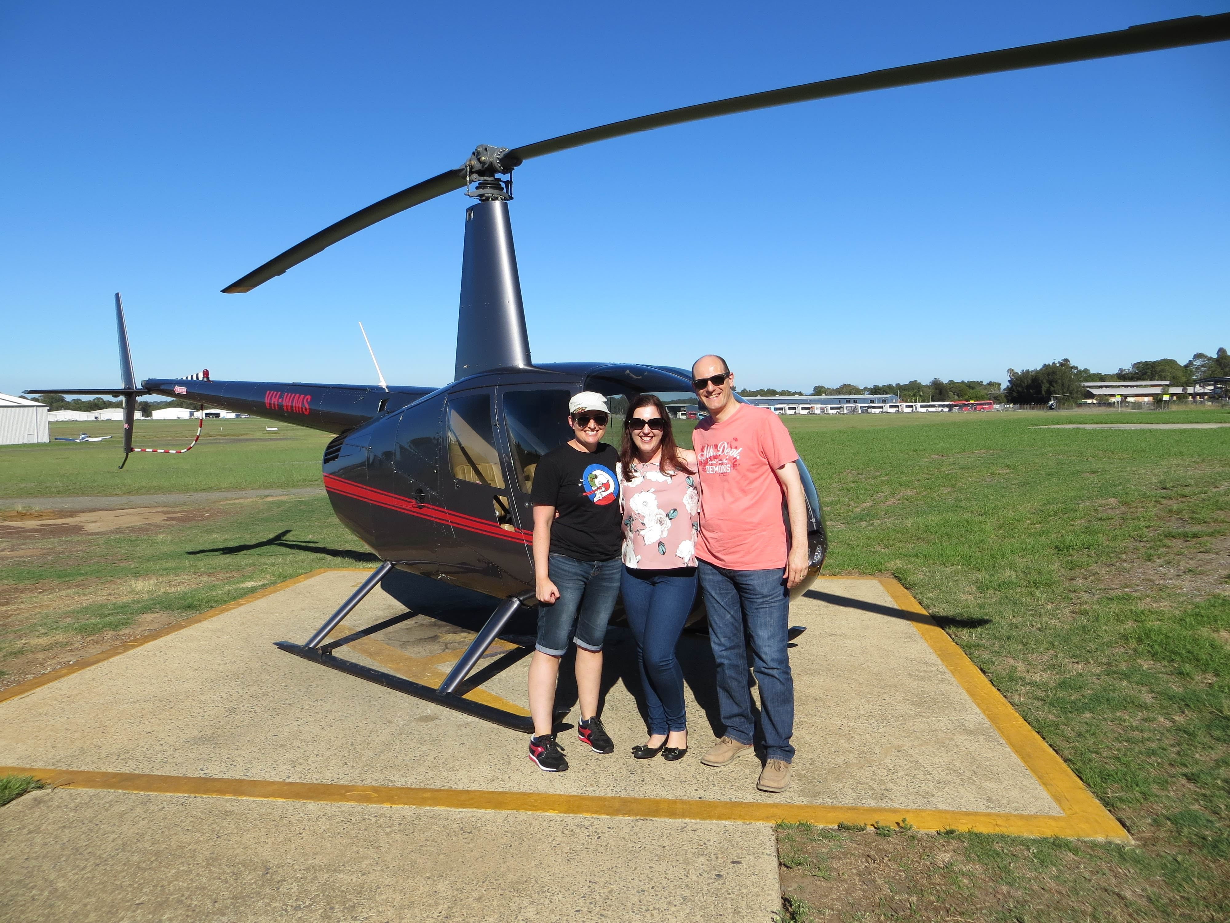 Liane, Max and Filita infront of the Helicopter