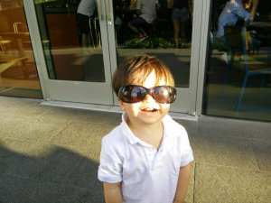 Flying Lad Las Vegas with a toddler sunglasses