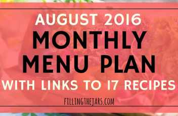 August 2016 Monthly Menu Plan | { HOT Summer Dinners - Links to 17 Recipes } This summer has been HOT. Click through to see my monthly menu plan that mainly uses the grill to keep the house cool. Includes meals based on foil packets and grilled chicken. | www.fillingthejars.com
