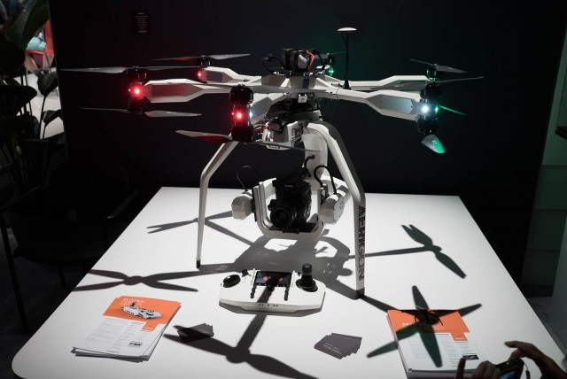 A drone in the Canon Booth with the new C300 Mark II