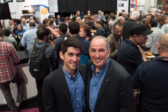Steve Tiffen and his son celebrating the 40th anniversary of the device at the Tiffen Booth at NAB 2015