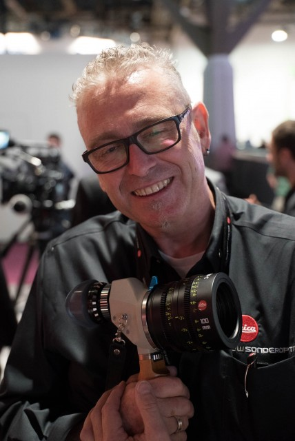 100mm Leica PL lens on a director's veiwfinder at the  Leica stand at NAB 2015