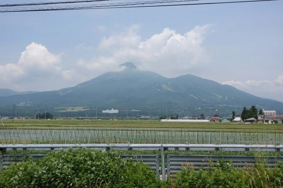 Mt. Bandai rising to 5,968' above the rice fields