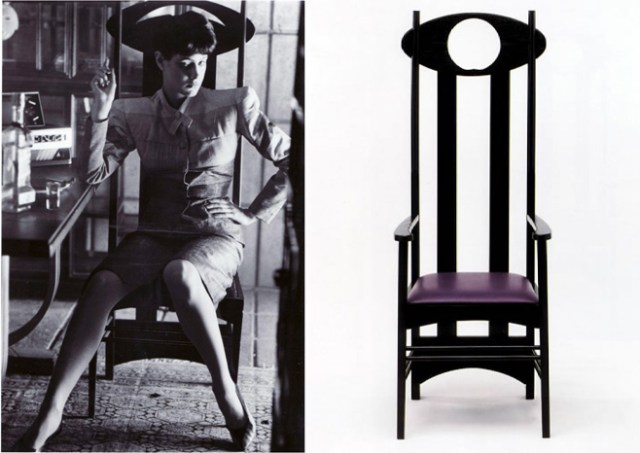 Rachel sits in an Argyle chair by Charles Rennie Mackintosh