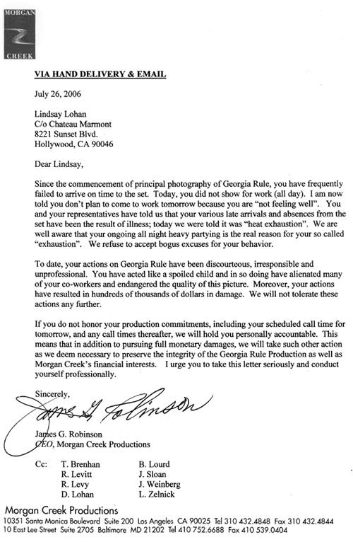 Lohan Letter