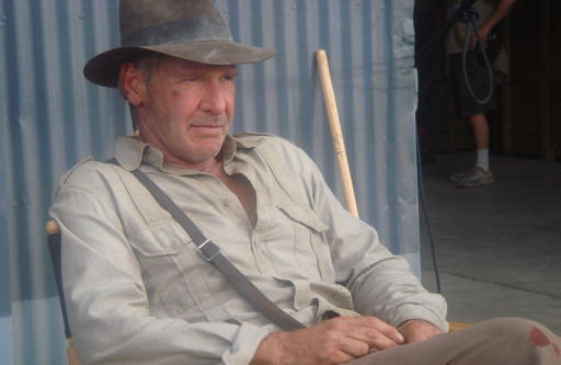 Harrison Ford on the set of Indy 4