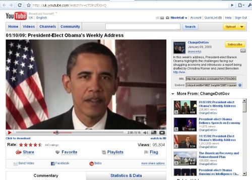Obama address on YouTube regular