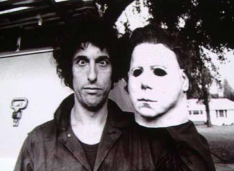 Halloween mask on set
