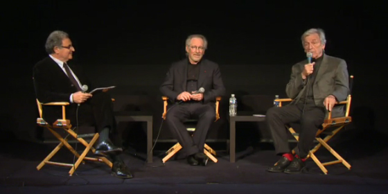 Steven Spielberg at La Cinematheque Francaise with Serge Toubiana and Costa Gavras