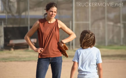 Diane Ford (Michelle Monaghan) and son, Peter (Jimmy Bennett) are at an impasse in James Mottern's feature film debut, TRUCKER. Credit: Kevin Estrada, Trucker Productions