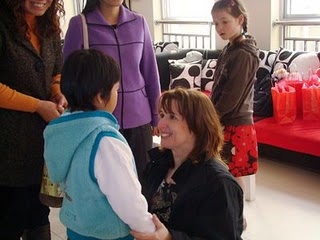 Donna and Faith meet for the first time in China