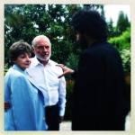 Luca Murri dà le indicazioni ai protagonisti del corto, Milena Vukotic e Giorgio Colangeli