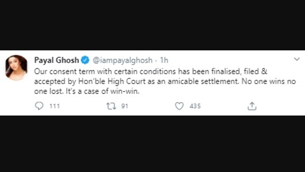 Payal Ghosh confirmed a friendly settlement in the case