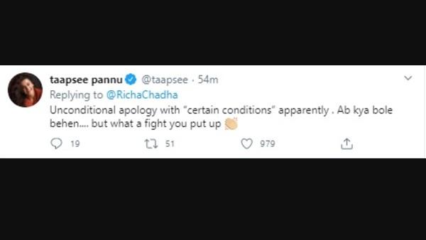 Tapasi Pannu praised Richa Chadha