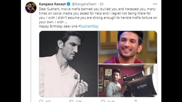 Kangana Ranaut Remembers Late Sushant Singh Rajput