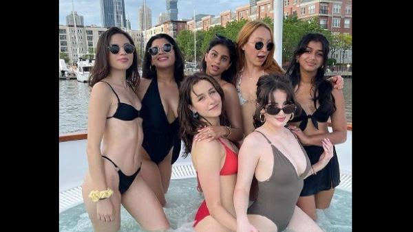 शाहरुख खान की बेटी सुहाना खान ने अपनी लड़कियों के साथ पूल पार्टी का आनंद लेते हुए तापमान बढ़ाया