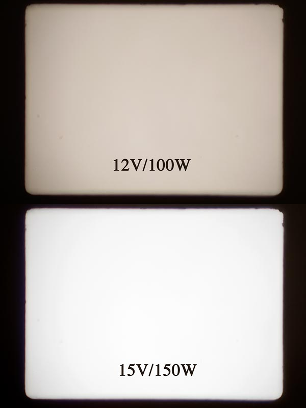 Beide Bilder wurden mit Blende f=8 und 1/6 Sek. aufgenommen. Das 150W-Bild wurde somit ideal belichtet, um den Lichtabfall am 100W-Bild realistisch zu illustrieren.