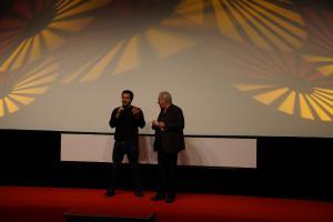 """Regisseur Matías Lucchesi (l) vor seinem Film """"El Pampero""""."""