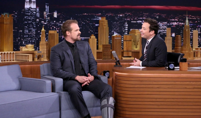 THE TONIGHT SHOW STARRING JIMMY FALLON -- Episode 0551 -- Pictured: (l-r) Actor David Harbour during an interview with host Jimmy Fallon on October 10, 2016 -- (Photo by: Andrew Lipovsky/NBC)