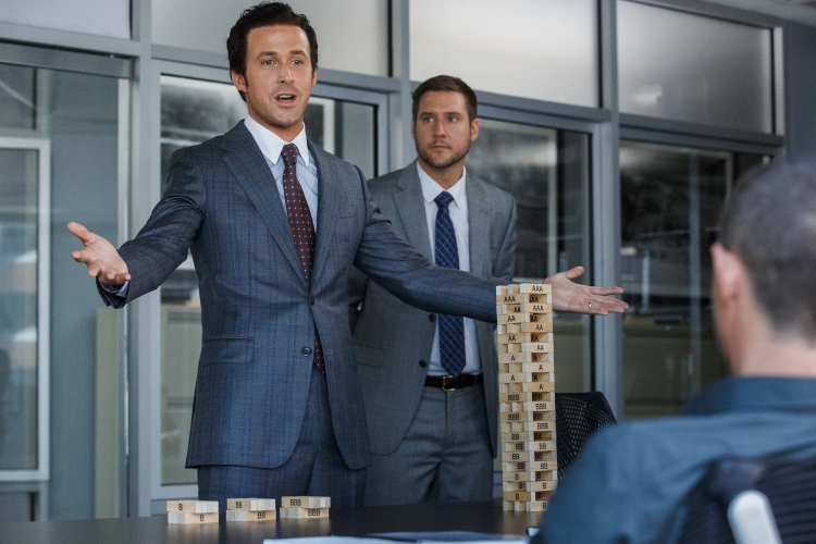 Left to right: Ryan Gosling plays Jared Vennett and Jeffry Griffin plays Chris in The Big Short from Paramount Pictures and Regency Enterprises