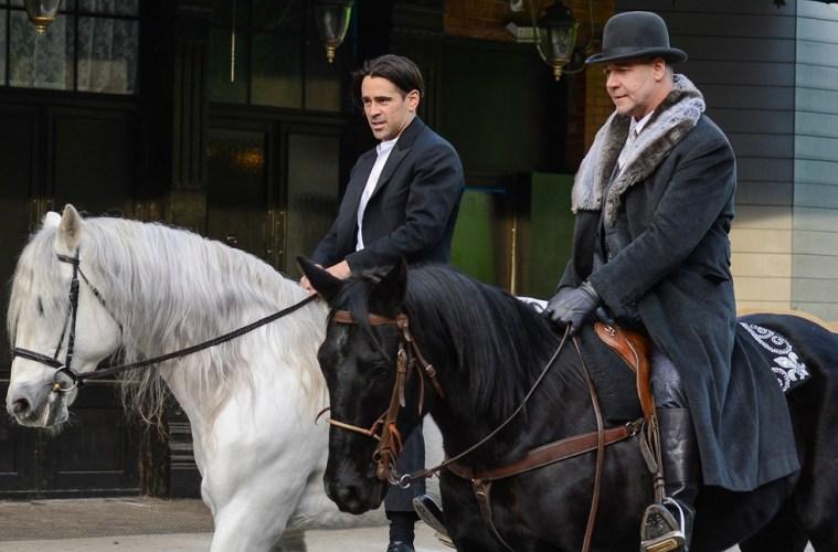 Farrell and Crowe film on horseback