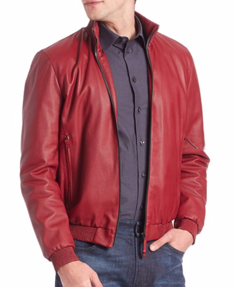 Reno Casual Wear Red Leather Jacket Men
