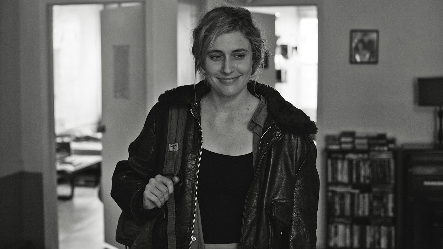 """The Most Important Movie In The World: Frances Ha """"Greta Gerwig in a leather jacket holding a bag"""""""