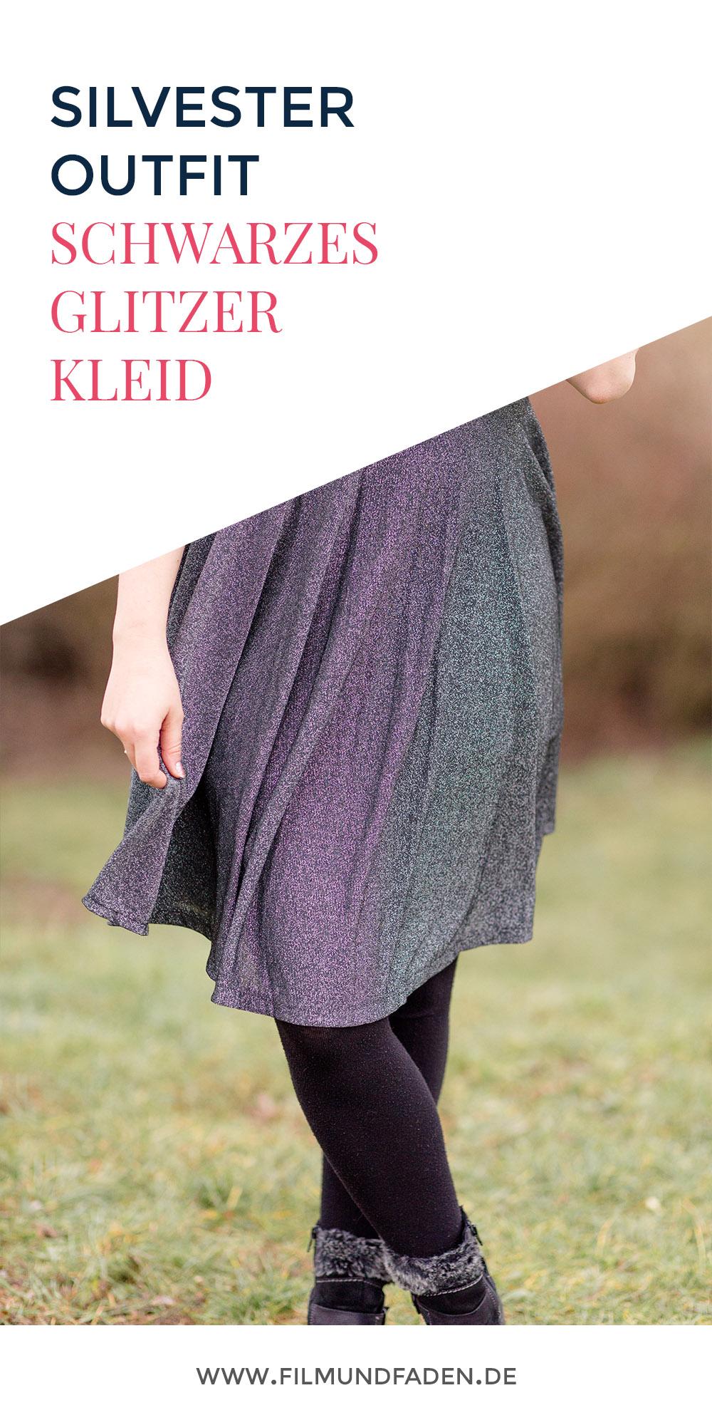 Die Silvester Outfit Kombination: Schwarz + Kleid + Glitzer!