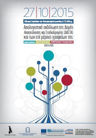 Απολογιστική εκδήλωση Δομής Απασχόλησης & Σταδιοδρομίας Πανεπιστημίου Ιωαννίνων 2010-2015