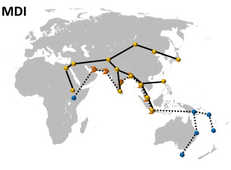 The migration routes identified by this research. The dotted line and blue dots are the earlier migration