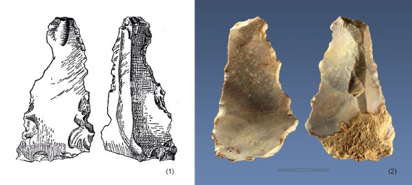 A figure from the creationist paper, comparing a Miocene eolith (left) to an accepted stone age tool (right)