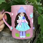 Mugs Decorated With Polymer Clay