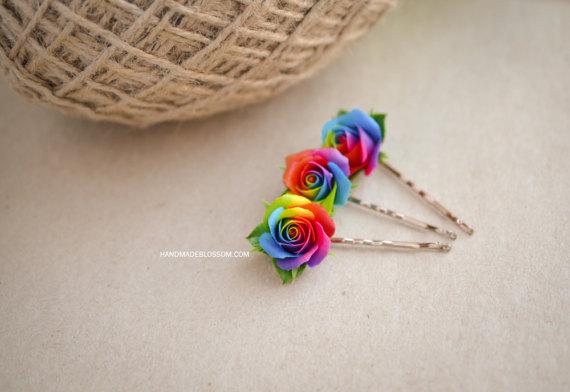 Polymer Clay Rainbow Rose Jewelry