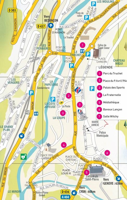 informations pratiques : plan de la ville de Saint-Claude avec les lieux du festival