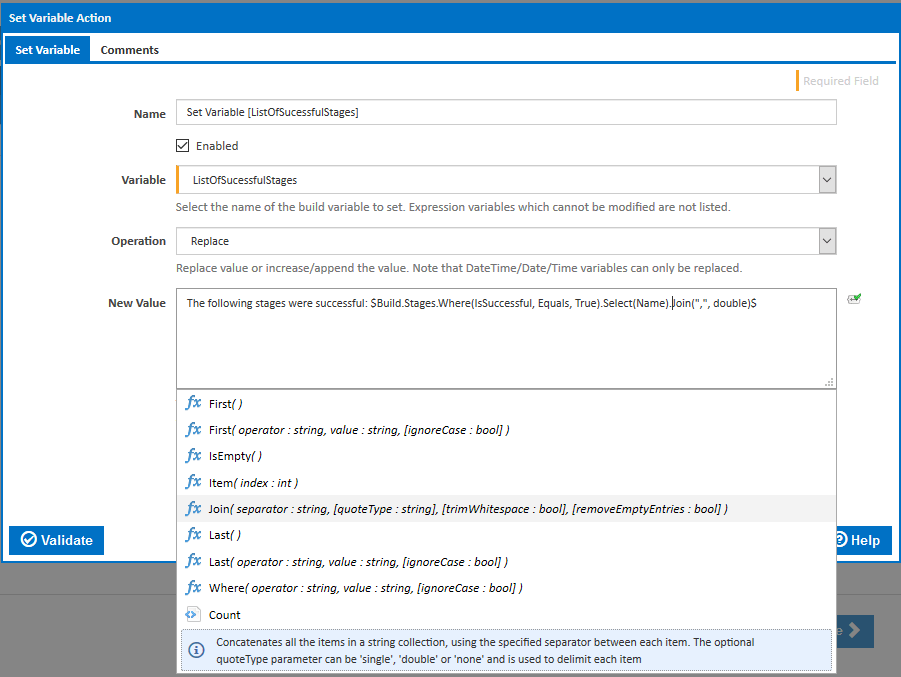 Expression in Set Variable action list categories