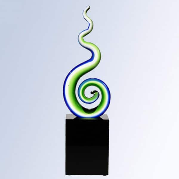 Green spiral with Black crystal base