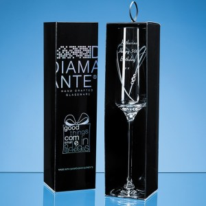 Just For You' Diamante Champagne Flute with Heart Shaped Cutting in an attractive Gift Box