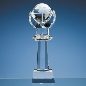 31cm Optical Crystal Mounted Globe Column Award