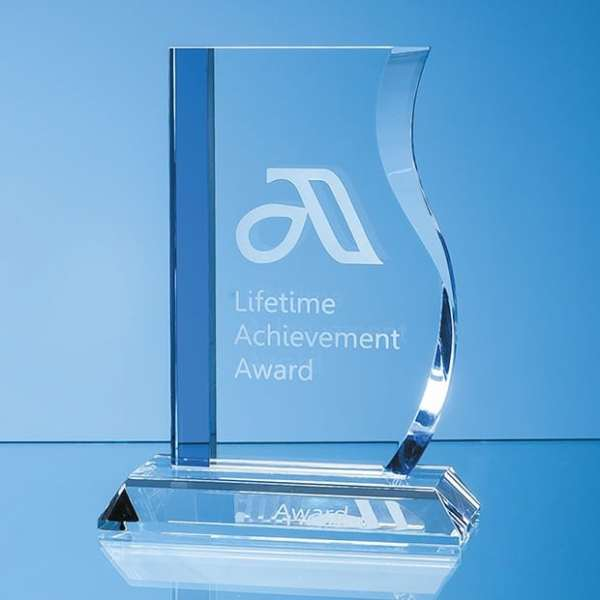 17.5cm Optical Crystal Blueline Wave Award