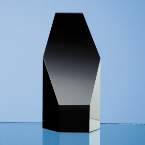12.5cm Onyx Black Optical Crystal Hexagon Award