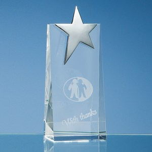 17.5cm Optical Crystal Rectangle with Silver Star