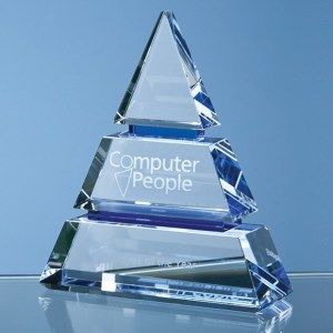 15cm Clear Optical Crystal Luxor Award with 2 Cobalt Blue Lines