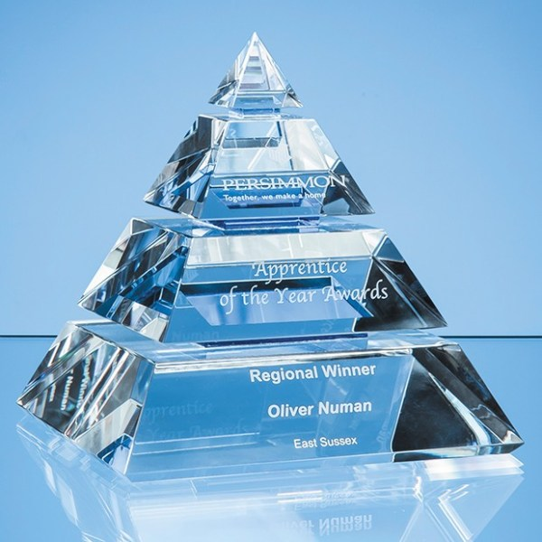 16cm Clear Optical Crystal Luxor Pyramid Award with 3 Cobalt Blue Lines