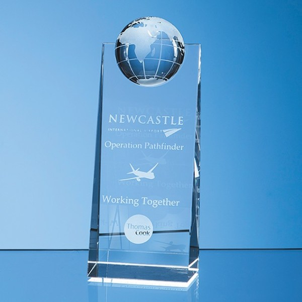 18cm Optical Crystal Globe Rectangle Award