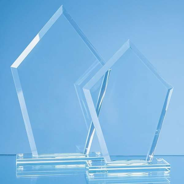 20cm x 14.5cm x 12mm Jade Glass Bevelled Edge Diamond Award