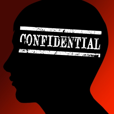 Confidential information on silhouette head