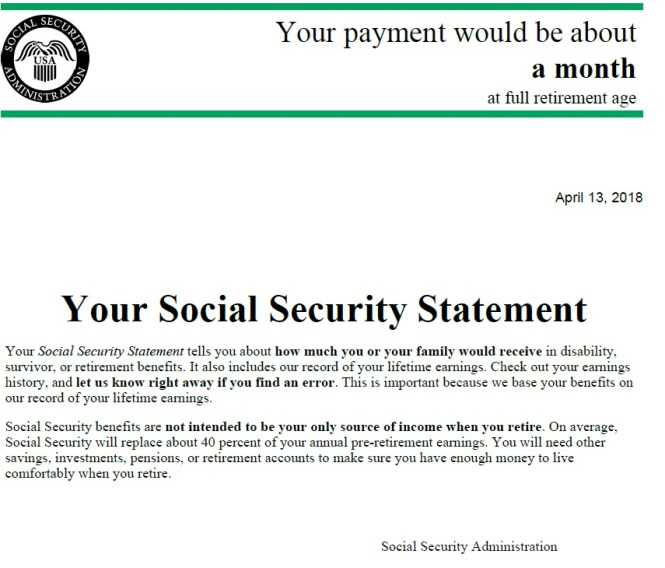 Social security statement